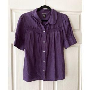 Lucky Brand Purple Short Sleeve Blouse